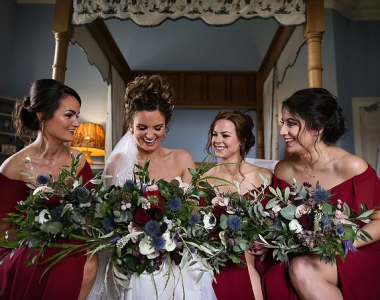 Bride and here bridesmaids after their makeover