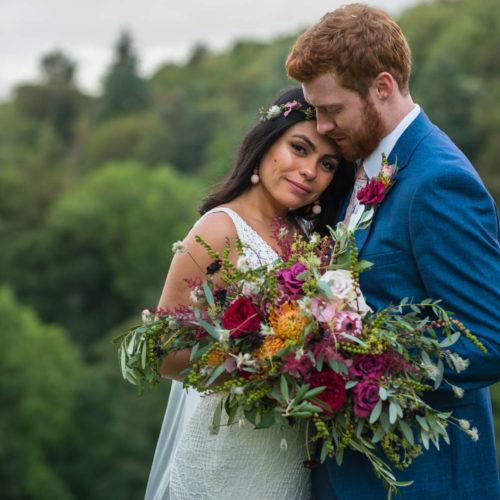 Wedding day Brazilian beauty and her husband
